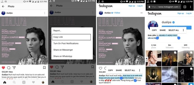 How to copy Instagram captions